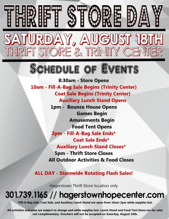 THRIFT STORE DAY SCHEDULE FULL